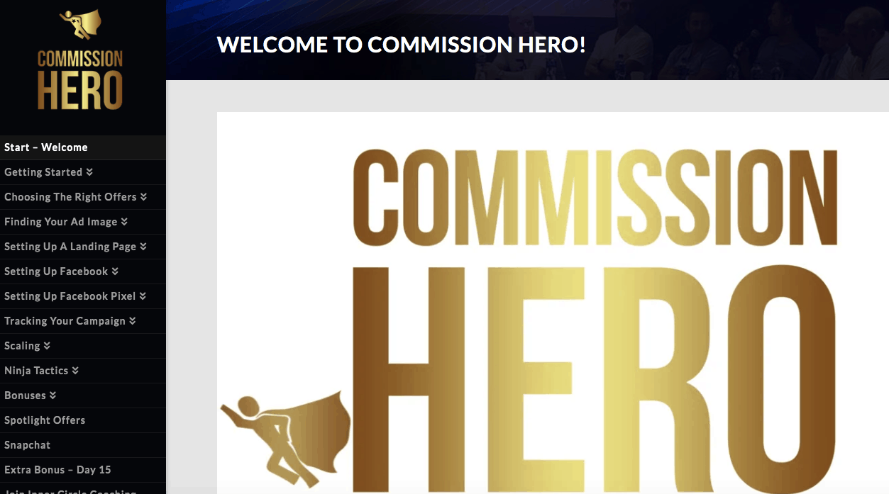 Facebook Advertising Definition of the commission hero